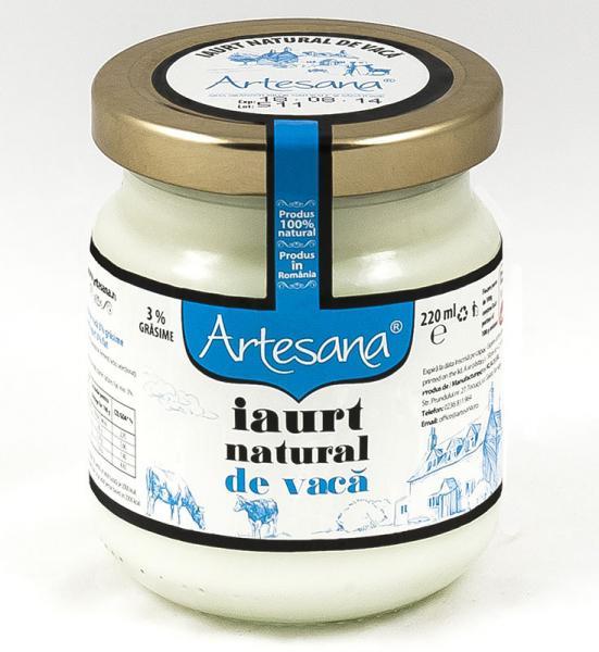 Iaurt natural de vaca - borcan de sticla 220ml - Artesana