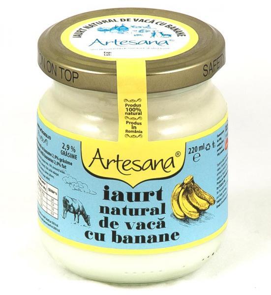 Iaurt natural de vaca cu banane  - borcan de sticla 220ml - Artesana