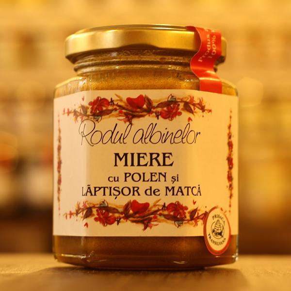 Miere cu polen si laptisor de matca 200g - Prisaca Transilvania