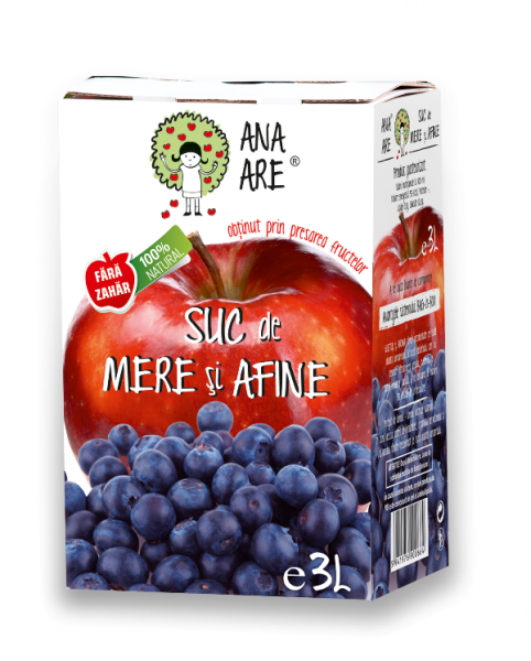 Suc de mere si afine 100 % natural  - 3L